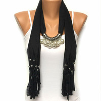 CHRISTMAS SALE black pearl jewelry scarf with beads Christmas gift or for you high fashion scarf