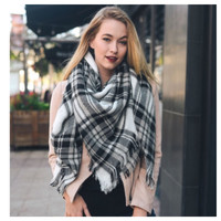 """Always My Style"" Huge Cozy White Black Plaid Blanket Scarf"
