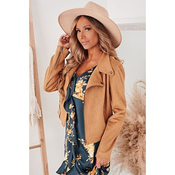 Back In Action Faux Suede Moto Jacket (Brown)