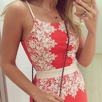 Lace Patchwork Strappy Bodycon Dress