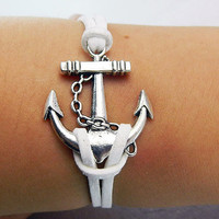 Unisex  simple fashion Antique Silver anchor  pendant white  leather braided bracelet