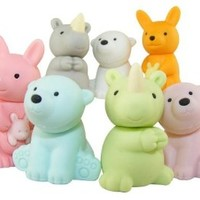 7-piece Iwako wild animal erasers - kangaroo, rhino and polar bear (Color Varies)