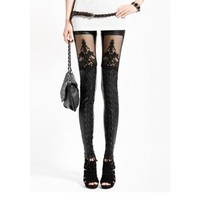New Punk Black Faux Lady Gothic Leggings Lace Punk Leggings Pants Tights