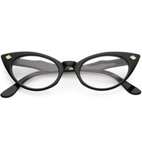 Women's Small Retro 1950's Secretary Clear Lens Cat Eye Glasses C939