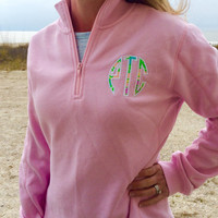 Pink Sweatshirt Quarter Zip LILLY PULITZER Monogram Applique  Font Natural Circle Applique in Chin Chin shown with white thread