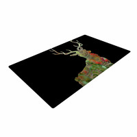"""Suzanne Carter """"Paisley Deer"""" Black Abstract Woven Area Rug"""