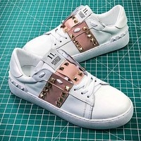 Valentino Rockstud Untitled White Pink Sneakers - Best Online Sale
