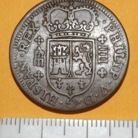 Post Medieval Coin 1719 Spain Copper IIII Lion Sword Colonial Pirate Antique Lot