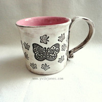 Pink Butterfly Ceramic Mug, Large Coffee Cup, Tea Cup, Rustic style, hand crafted, hand built