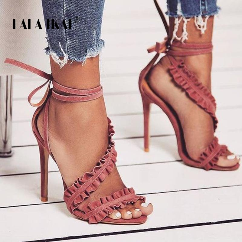 Image of Ankle Strap High Heels Sandals Women Ruffles Sandals Summer shoes Solid Lace-Up