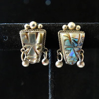 1950s Carved Abalone Sterling Screw Back Earrings Tiki Hawaiian