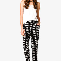 Arrowhead Print Satin Trousers