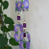 Glass Wind Chime, Recycled Fireball bottle wind chime, Flowers, Purple, Yellow, Sun catcher, yard art, clear glass, House warming gift