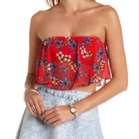 Red Combo Floral Print Chiffon Flounce Tube Top by Charlotte Russe
