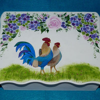 Decorative Wooden Keepsake Box Hand Painted Wood Box Rooster Memory Box Personalized