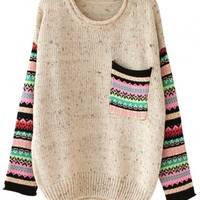 Sweet Paneled Sweater - OASAP.com