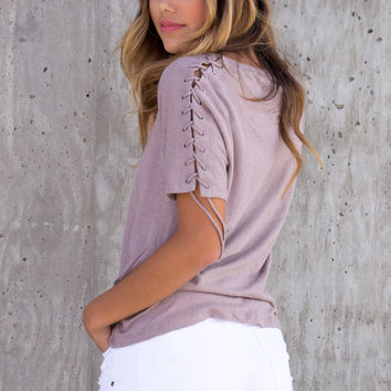 Mauve Lace Up Sleeve Top