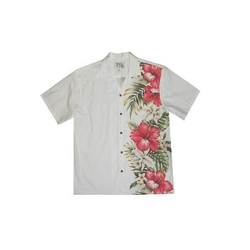 KY's Mens White Button Down Hawaiian Shirt with Side Flower Design