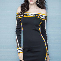 Fendi Women Long Sleeve strapless Dress