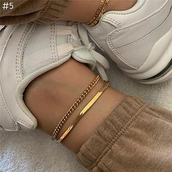 Fashion Gold Snake Link Chain Anklets High Quality Punk Ankle Bracelet Women Girl Jewelry Accessories