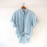 Vintage washed out denim shirt. Faded blue shirt. Button front tee shirt. Sun washed shirt.