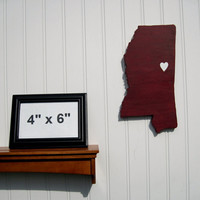 """Mississippi State Bulldogs """"State Heart"""" wall art, handcrafted wood with official team colors"""