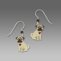 Sienna Sky Earrings - Pug Puppy with Red Heart