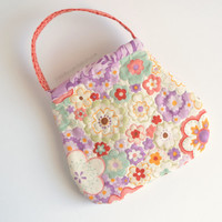 Toddler purse quilted in Moda Mimi Chez Moi flower print in lavender, coral, aqua, cream