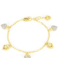 Gold Jc Pave Heart Charm Bracelet by Juicy Couture, No