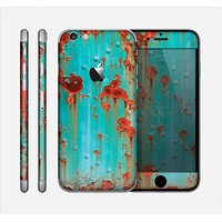 The Teal Painted Rustic Metal Skin for the Apple iPhone 6