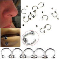 5Pcs/Lot  316L Surgical Stainless Steel Circular Barbells Horseshoe 18g Lip Ring Eyebrow Nose Studs Body Piercing Jewelry