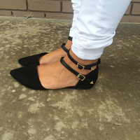 Black Diane Pointed Flats