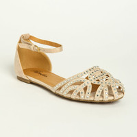 RHINESTONE STUDDED ANKLE STRAP LOAFERS