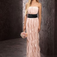 Strapless Crinkle Chiffon Dress with Mikado Sash - David's Bridal - mobile
