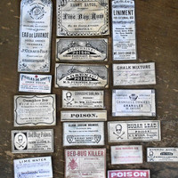 Apothecary Labels Halloween Poison Skull Crossbones Rum Potion Paper Labels Grunge Primitive Distressed Party Favors Decoration