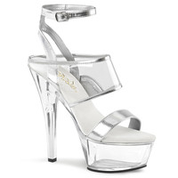 Kiss 260 Lucite Wrap Around Ankle Strap Sandal Silver