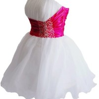 Faironly Zm3 Homecoming Mini Party Cocktail Dress (XS, White / Pink)