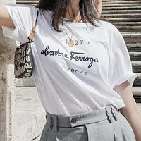 Ferragamo Hot Sale Women Men Casual Letter Print Short Sleeve T-Shirt Top Blouse