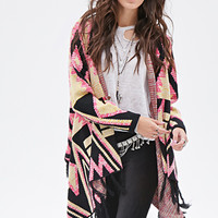 FOREVER 21 Abstract Tribal-Inspired Cardigan Pink/Yellow