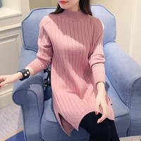 2017 Autumn Winter Women Sweaters And Pullovers Female Clothing Knitted Long Sleeved Turtleneck Split Sweater Free Size Sweater