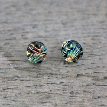 Sterling Silver Studs Pink and Blue Fused Dichroic Glass Stud Earrings, Fused Glass Jewelry, Dichroic Earrings, Dichroic Studs
