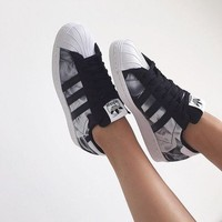 """Adidas"" Superstar Shell toe Smoke Pattern Casual Sneakers"