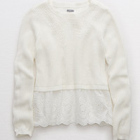 Aerie Lace Bottom Sweater, Soft Muslin