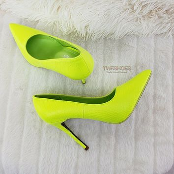 """Scaled Bright Neon Yellow Snake 4.5"""" High Heel Stiletto Shoes Pointy Toe Pumps"""