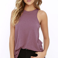 RVCA Label High Neck Tunic Mauve Purple Tank Top
