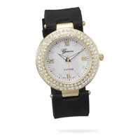 Black Silicon Fashion Watch with Mother of Pearl Face