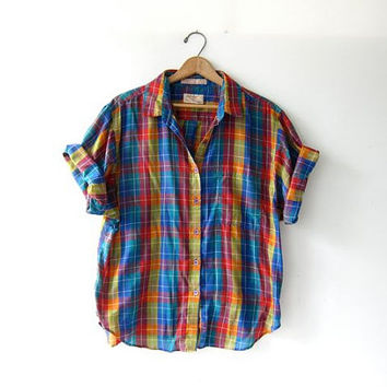 Vintage plaid shirt. Colorful loose fit shirt. Short sleeve shirt. Preppy button up top. Semi sheer tomboy tee.