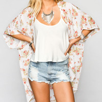 Full Tilt Leaf Bouquet Womens Kimono Peach  In Sizes