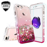 Apple iPhone 8 Plus Case Liquid Glitter Phone Case Waterfall Floating Quicksand Bling Sparkle Cute Protective Girls Women Cover for iPhone 8 Plus - Hot Pink