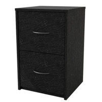 2-Drawer File Cabinet Contemporary Home Office Furniture Black Ebony Ash Finish